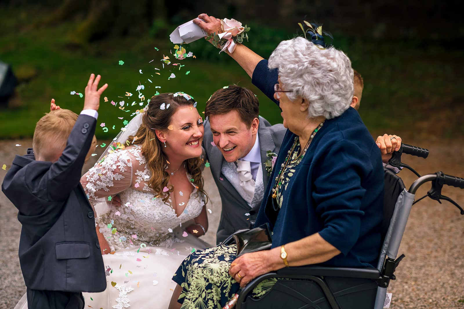Grandmother throwing confetti
