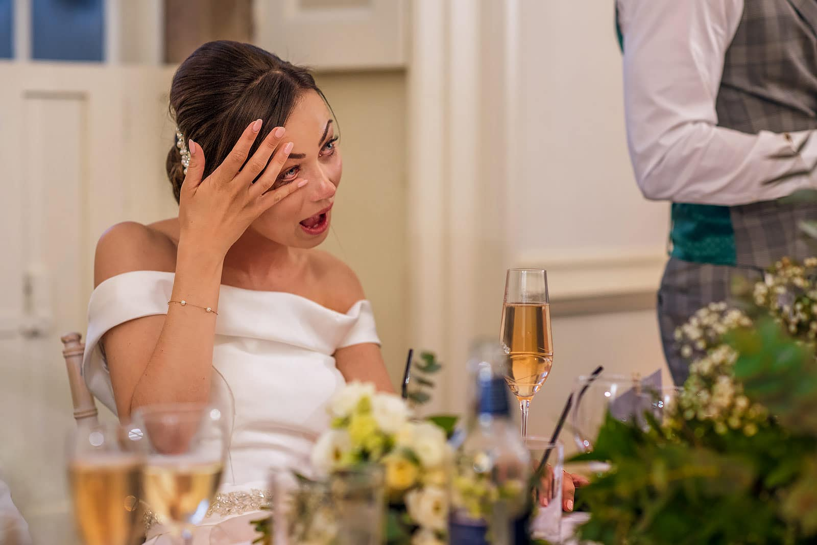 Emotional bride on her wedding day