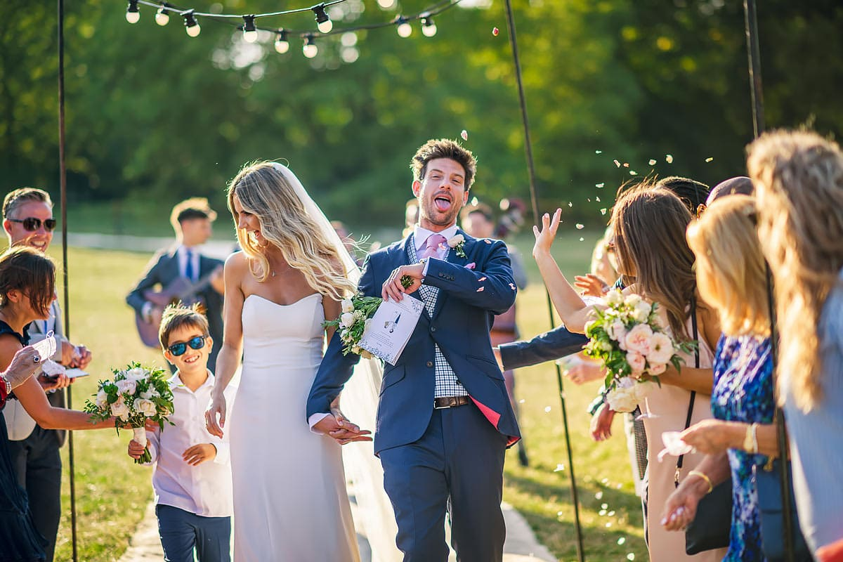 Confetti time at a Norton Hall Cotswolds wedding