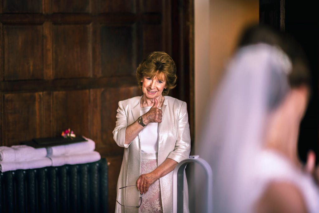 Thumbs up from the mother of the bride at Elmore Court