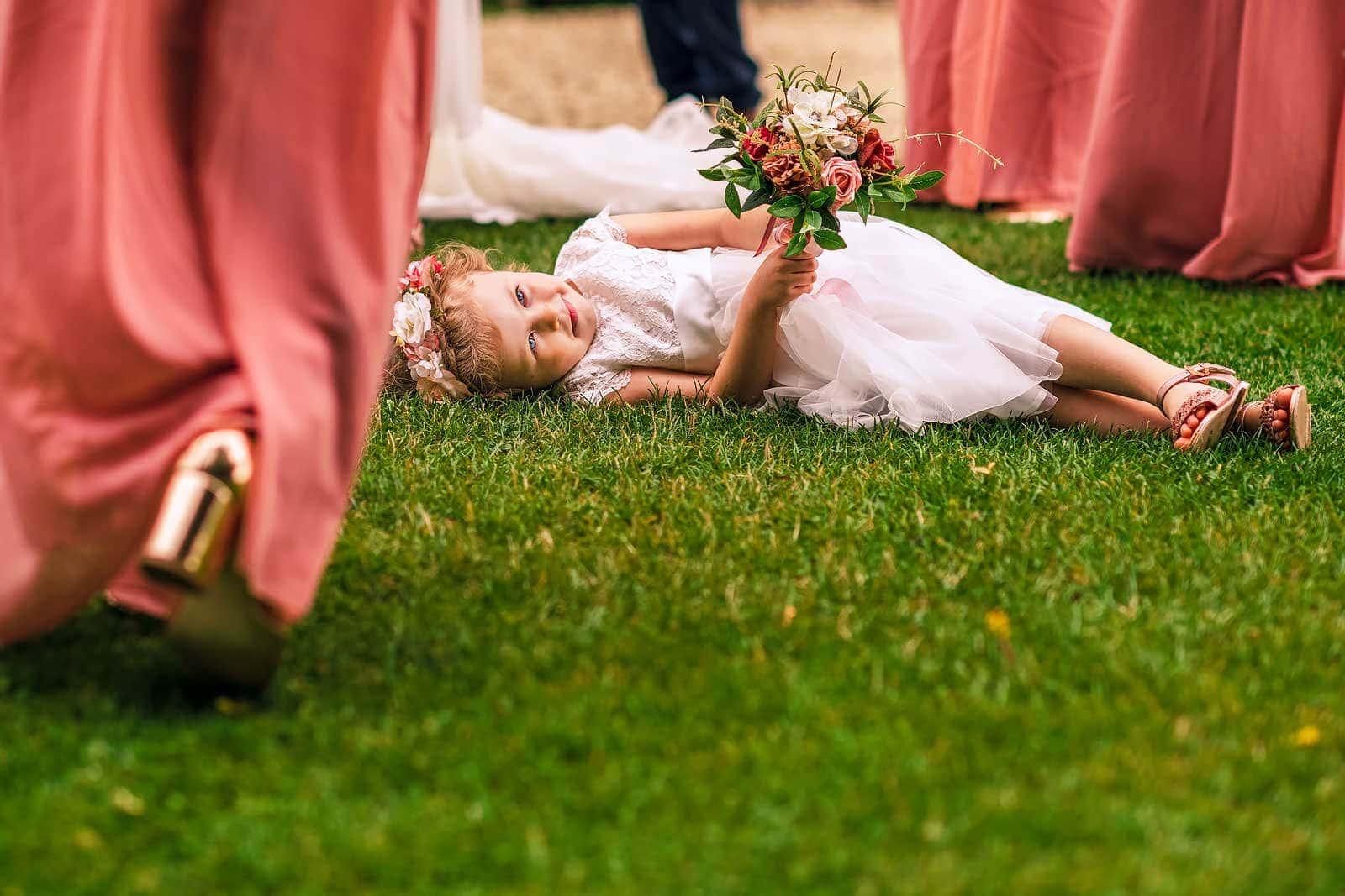 Bridesmaid having fun at Cripps Barn