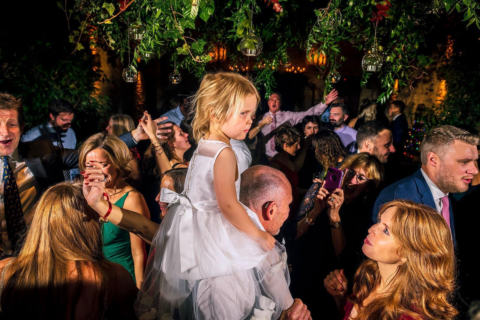 Drunk wedding guests having fun