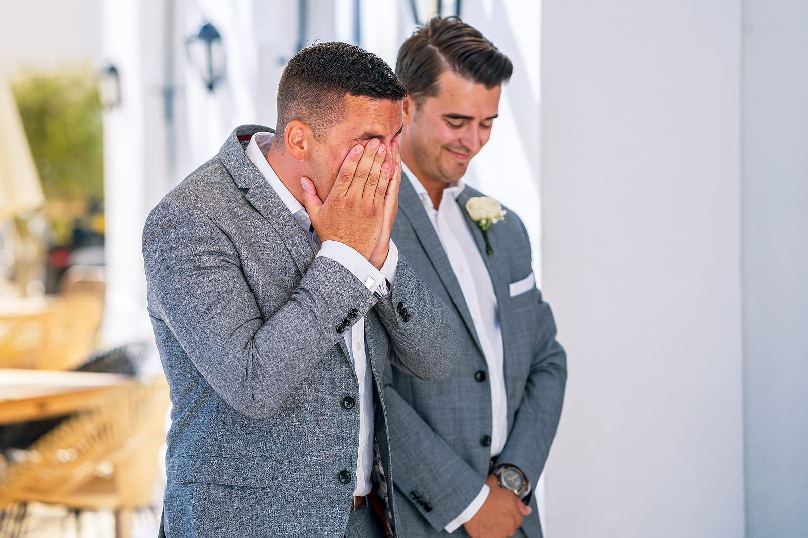 Emotional groom at Quinta Dos Santos wedding Algarve