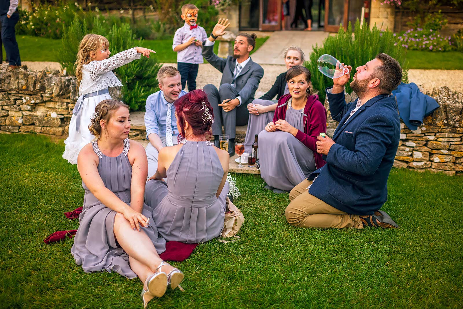 Wedding guests having fun at The Great Tythe Barn