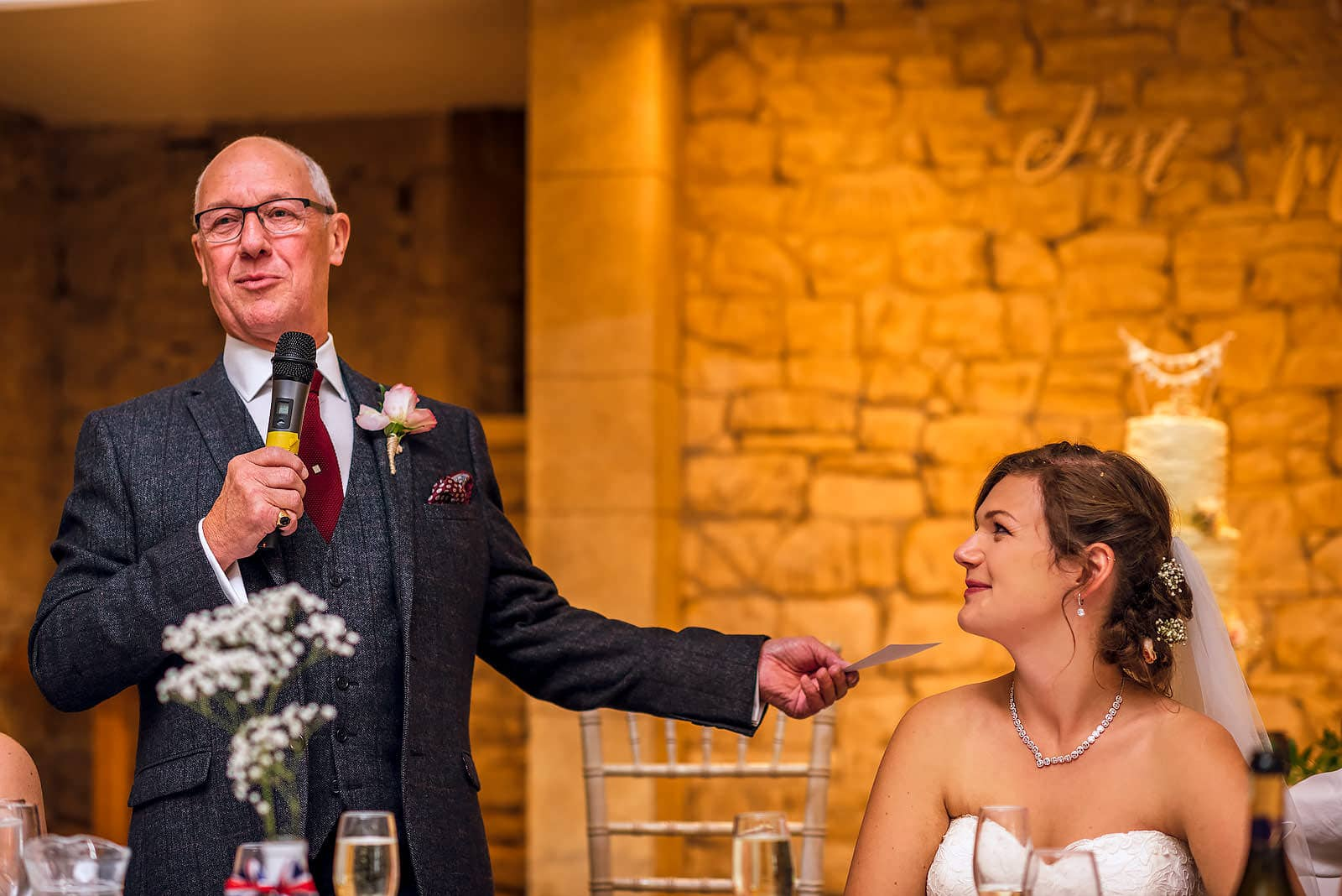 A very proud father of the bride giving his speech