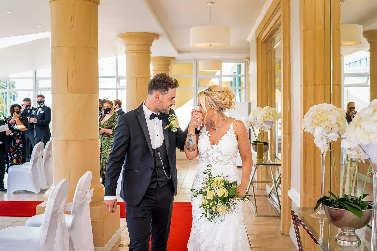 Bride and groom share a lovely moment together