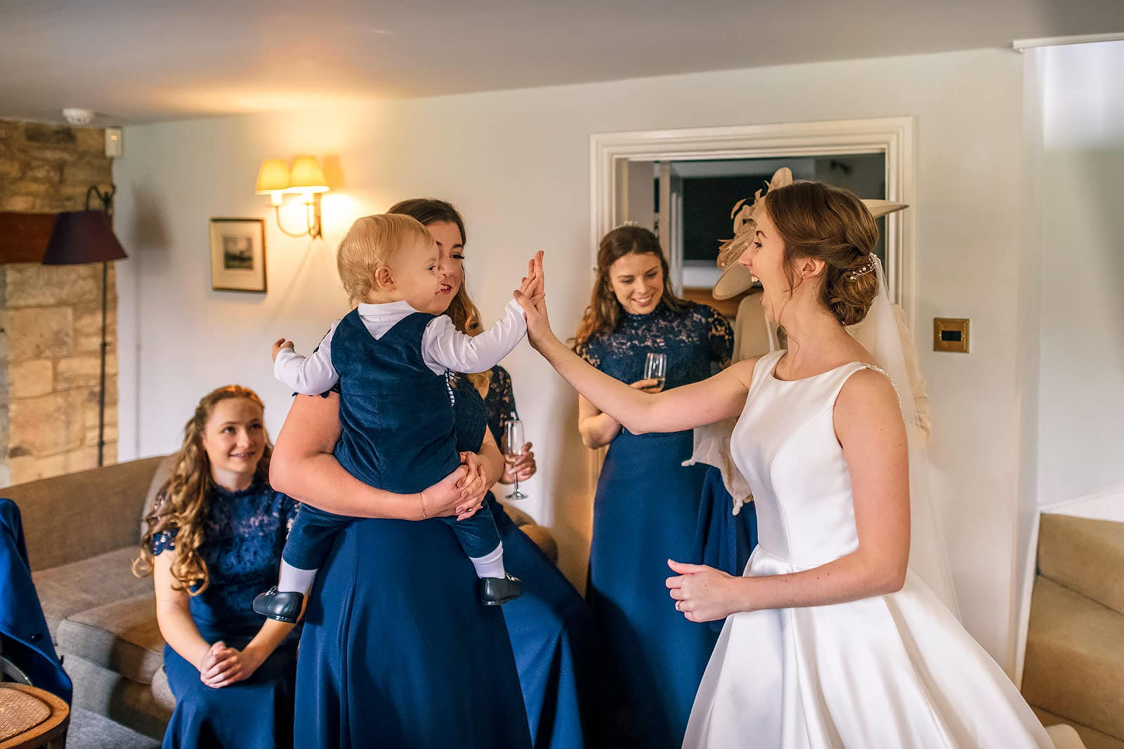 High fives for the bride and her son