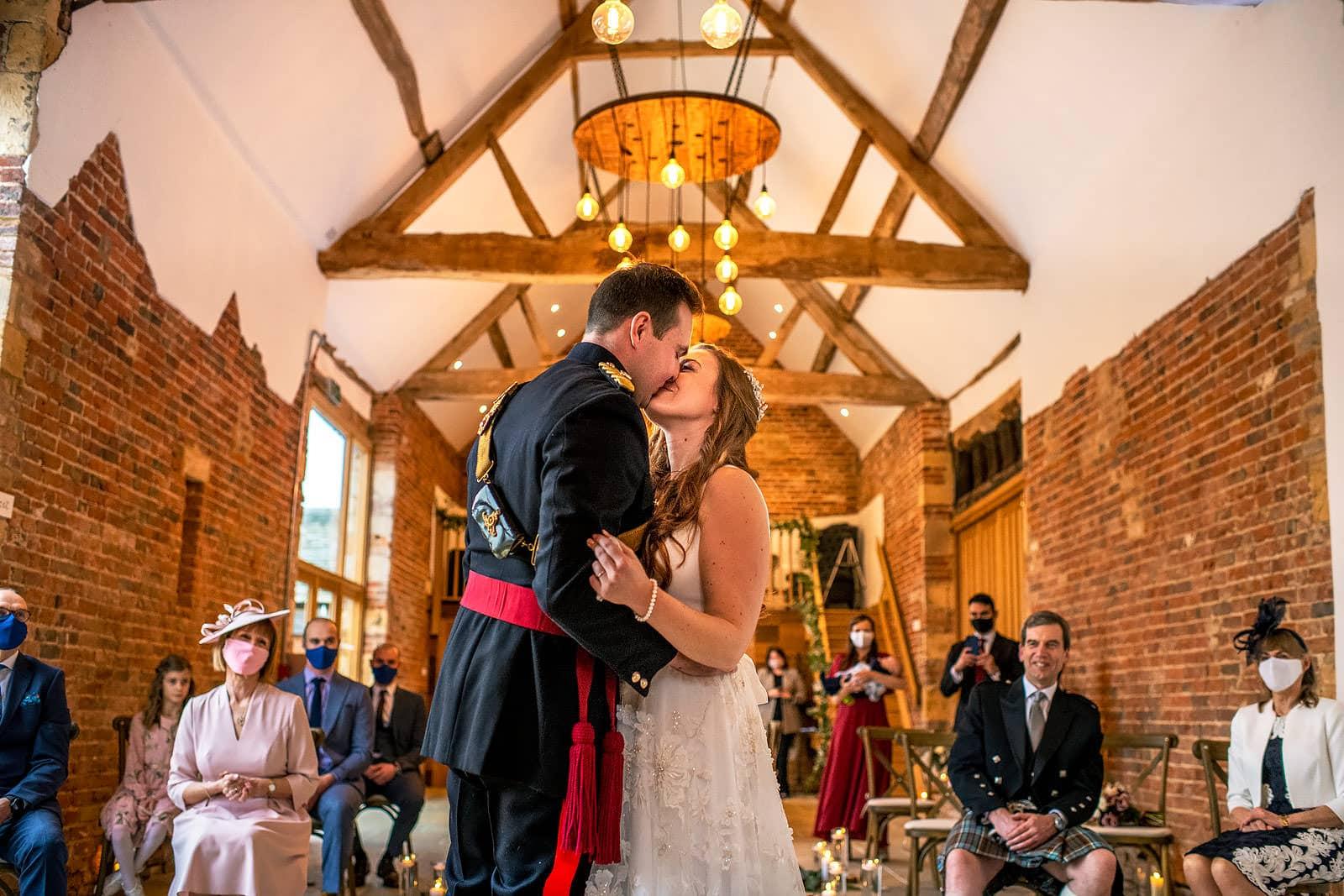 Norton Grounds Wedding first kiss