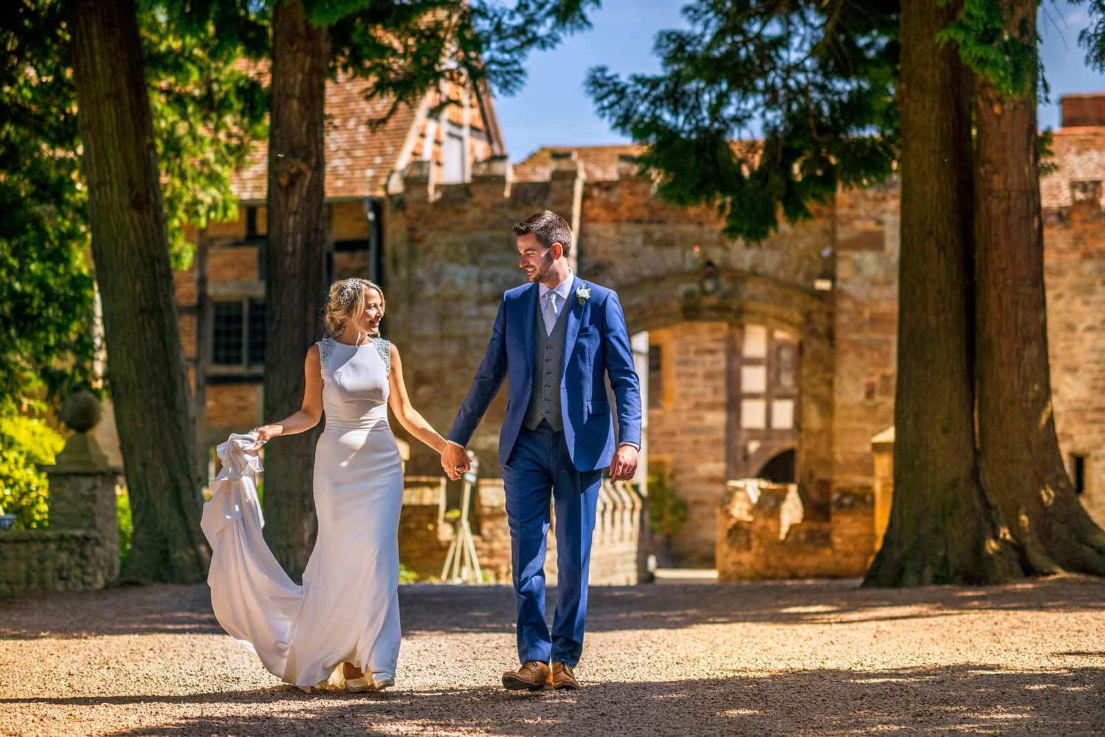 Bride and groom take a walk together