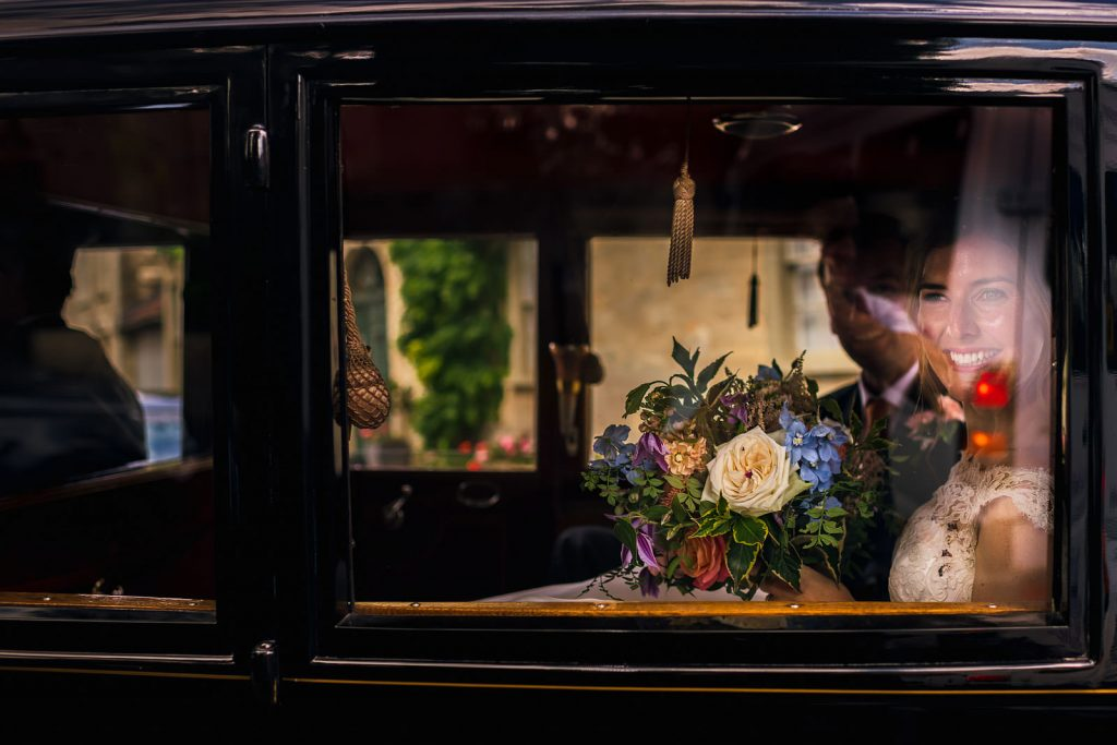 Bride arrives at Hamswell House