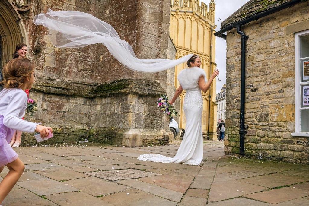 Wedding veil blowing in the wind